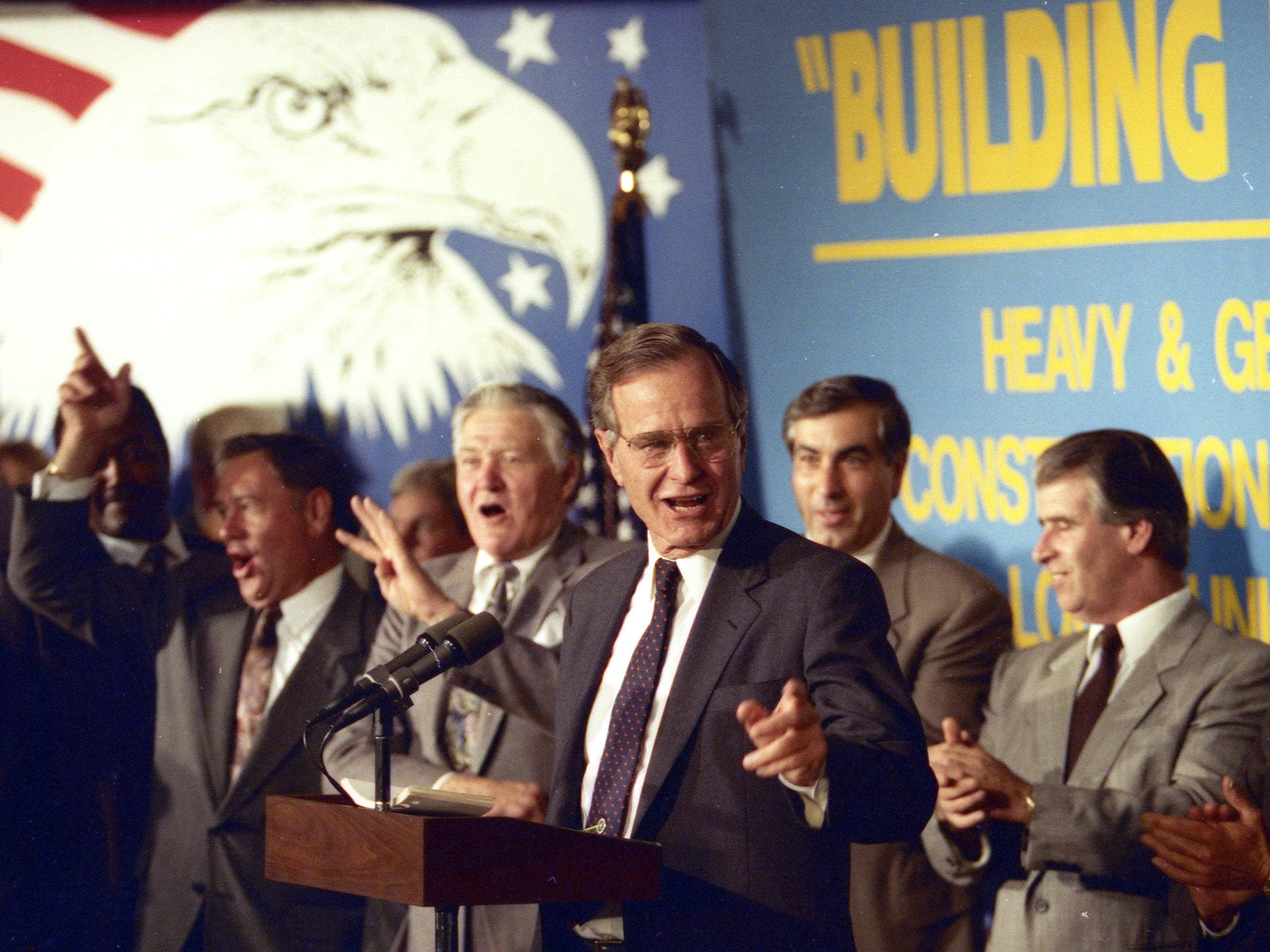 President George HW Bush speaks at the Laborers Union Local 472 of the Heavy and General Construction Workers in Newark, NJ, on September 30 1992.