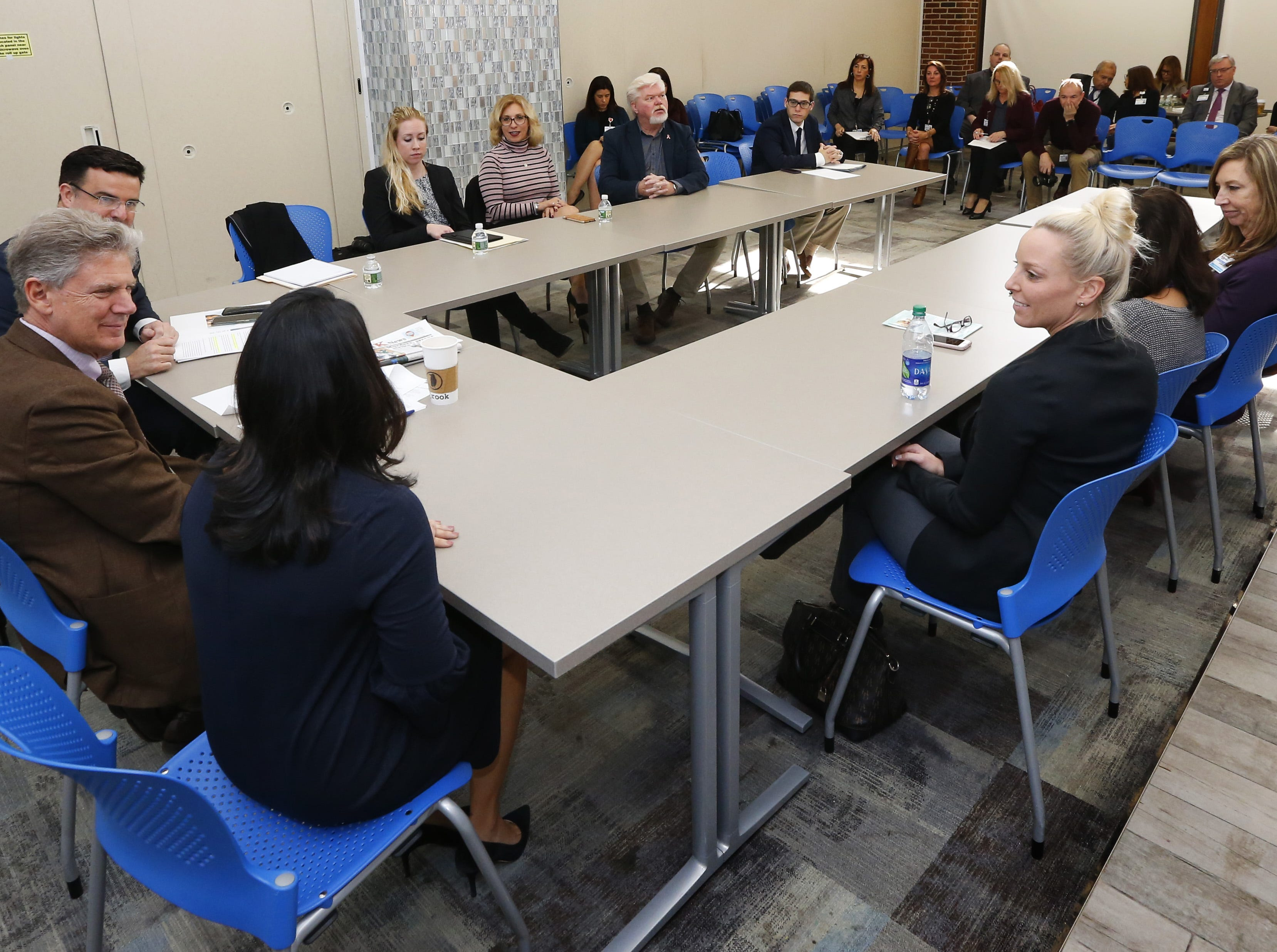 Ranking member of the House Energy and Commerce Committee, Rep. Frank Pallone, talks to hospital administrators during visit to Monmouth Medical Center in Long Branch, NJ.