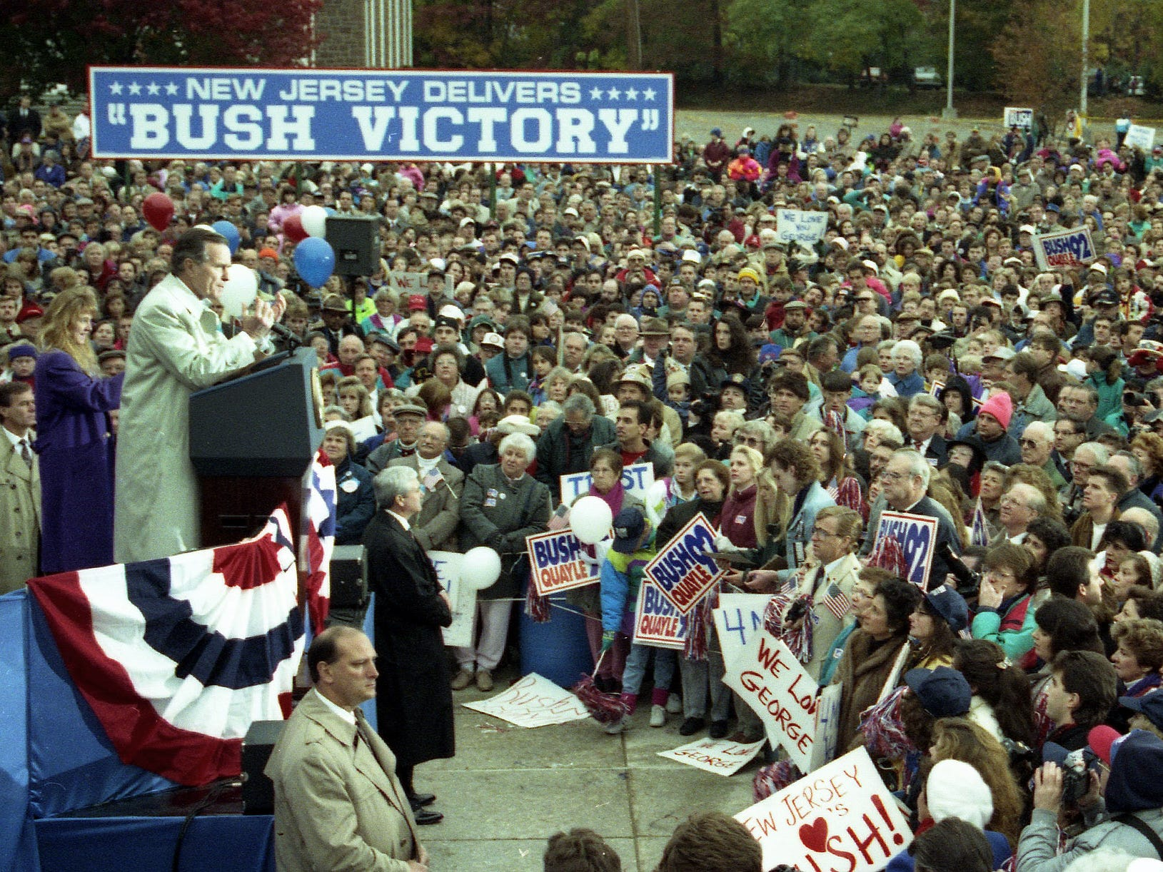 President George HW Bush speaks during an election eve rally in Madison, NJ, on November 2, 1992.