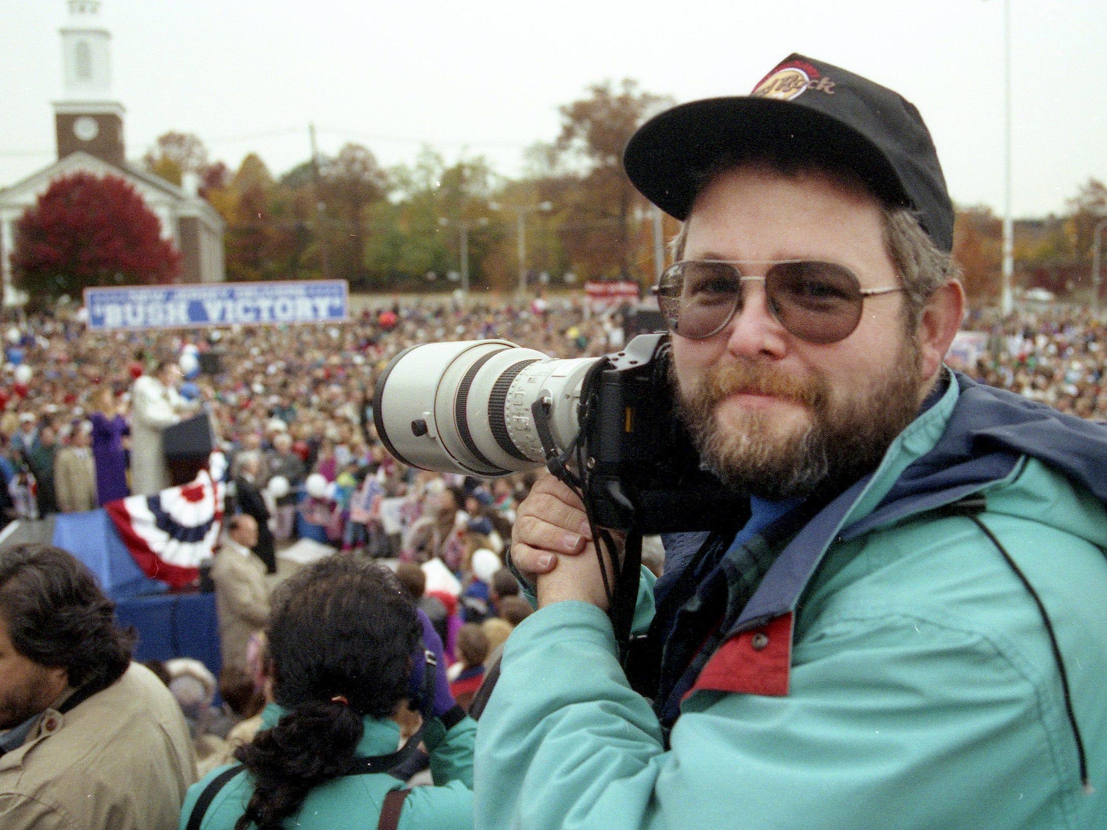 Asbury Park Press Staff Photographer Thomas P. Costello photographs President George HW Bush's election eve rally in Madison, NJ, on November 2, 1992.