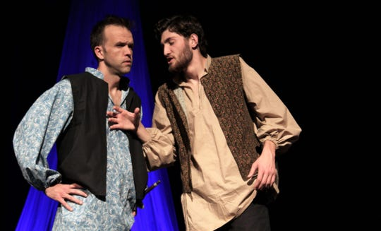 Iago (Mitchell Bradford, right) convinces Roderigo (Keith May) to enter into his plans for Othello in this rehearsal scene from the Shakespeare classic on stage Friday at Abilene Community Theatre.