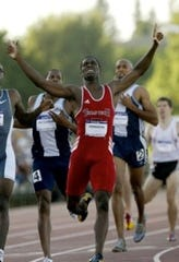 Jonathan Johnson celbrates after winning an event during his time as a Texas Tech Red Raider.