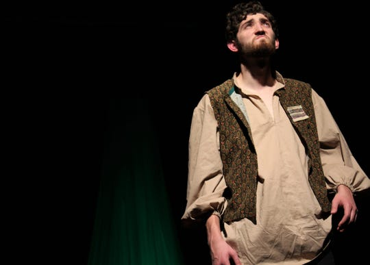 """Mitchell Bradford is Iago, the villain in """"Othello"""" seen devising his dastardly plans in this rehearsal scene from Abilene Community Theatre's take on the Shakespeare classic."""