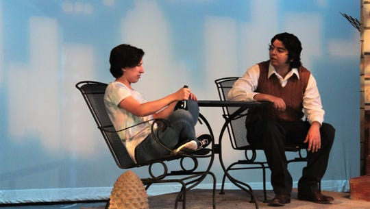 """It's Catherine's birthday and she can drink up if she wants to. Catherine (Ashleigh Moss) muses on life with her deceased father Robert (Kevin Roberts) in this rehearsal scene from McMurry University's """"Proof."""""""