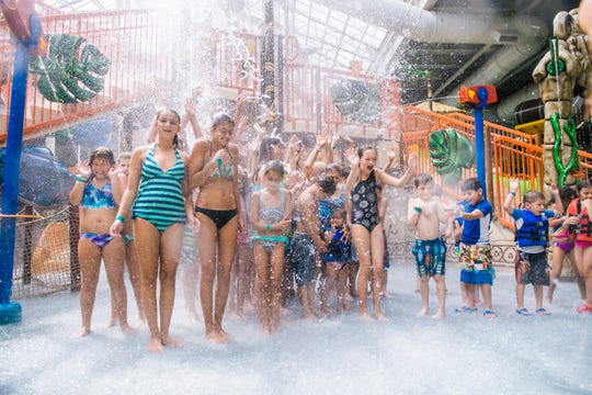 Splashdown Safari at Kalahari Resorts and Conventions in the Pocono Mountains, Pennsylvania, features net crawls, water guns, a variety of slides and multiple levels of interactive fun under a retractable roof.
