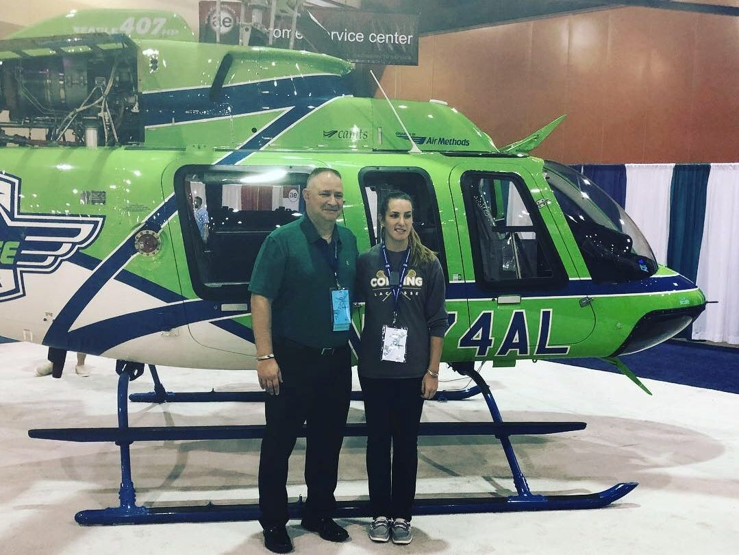 Whitney Corby, right, with flight paramedic Sean Mitchell. Corby is a Binghamton University graduate who now works as a traveling nurse.