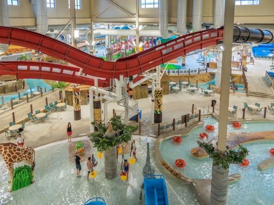 An overview of the 220,000-square-foot waterpark at Kalahari Resorts & Conventions in the Pocono Mountains, Pennsylvania.