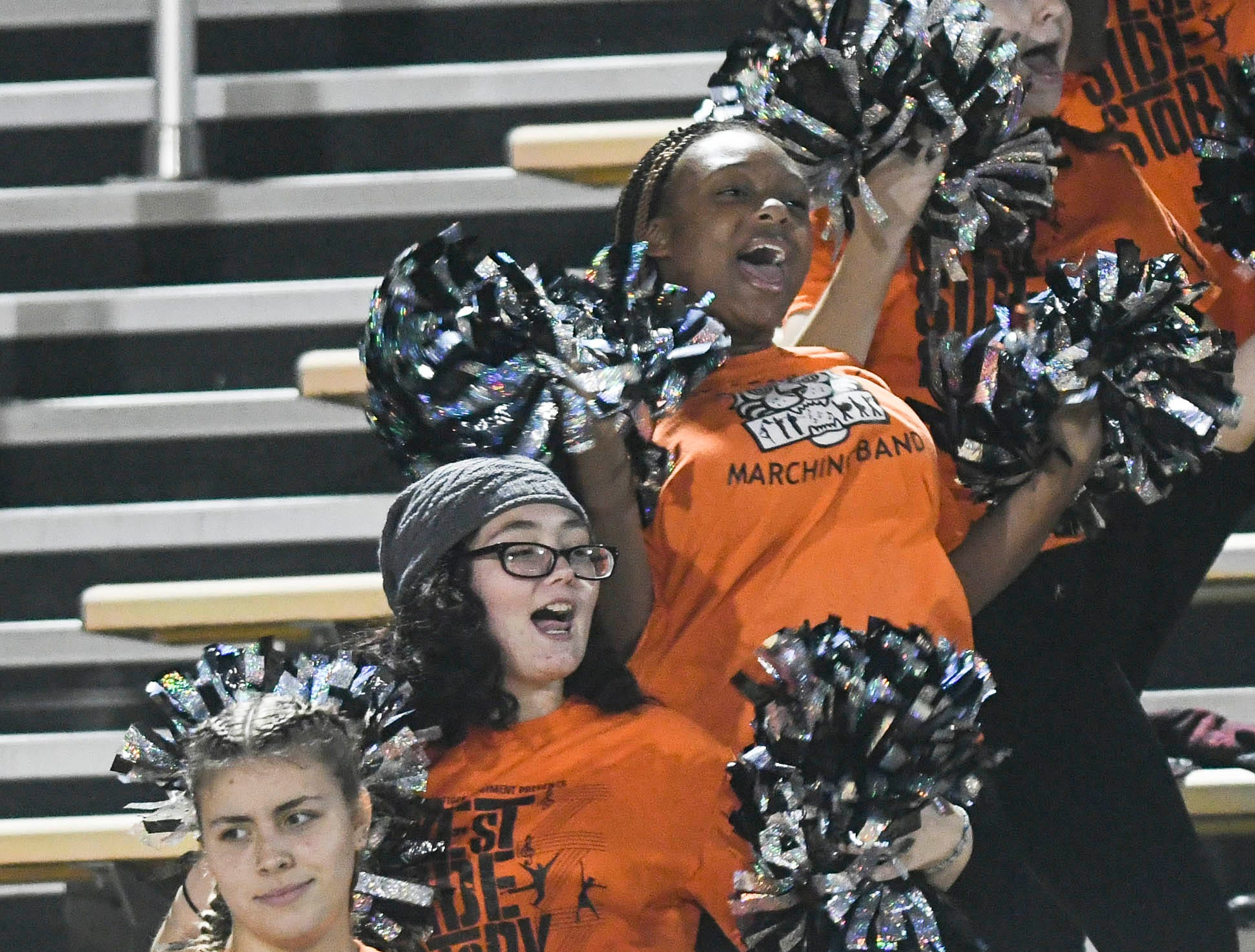 Members of the Cocoa High band dance during Friday's Class 4A state football semifinal.