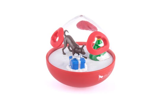 Wobble Ball will be a hit with cats and dogs. It combines interactive enrichment toy combines playtime and treats.
