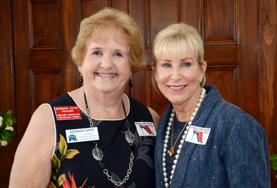 Barbara Davis, left, chair of the  Brevard Republican Executive Committee, poses for photos with Florida first lady Ann Scott during a reception for new members of the Brevard Federated Republican Women.