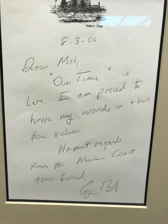 A hand-written letter dated Aug. 3, 2006 from President George H.W. Bush hangs framed in a Melvyn Klein's Downtown Corpus Christi office.