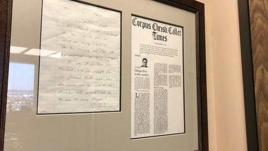 A framed letter from President George H.W. Bush hangs on a wall in Melvyn Klein's Corpus Christi office. The letter, which were notes from Bush, became a prompt for Klein's column in a December 2001 edition of the Corpus Christi Caller-Times.
