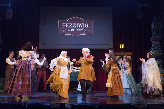 """Company of """"Charles Dicken's A Christmas Carol'' at the Walnut Street Theatre in Philadelphia."""
