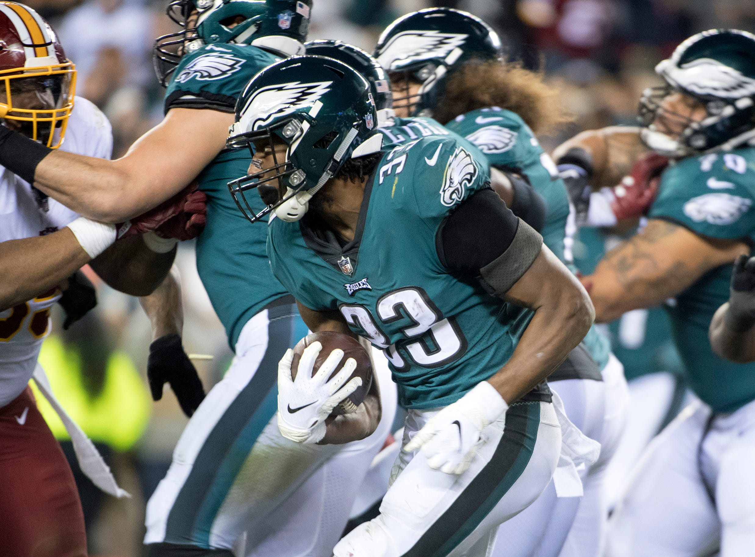 Eagles' Josh Adams (33) carries against Washington Monday, Dec. 3, 2018 in Philadelphia. The Eagles won 28-13.