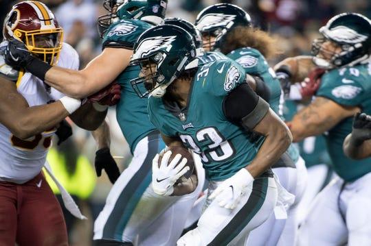 Eagles' Josh Adams (33) carries against Washington Monday, Dec. 3, 2018 in Philadelphia. The Eagles won 28-13.