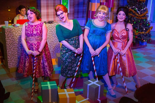 """In 1968 at the Harper's Hardware Store Christmas Party, the """"Winter Wonderettes'' perform the entertainment. Get in on the act through Dec. 30 at Walnut Street Theatre in Philadelphia."""