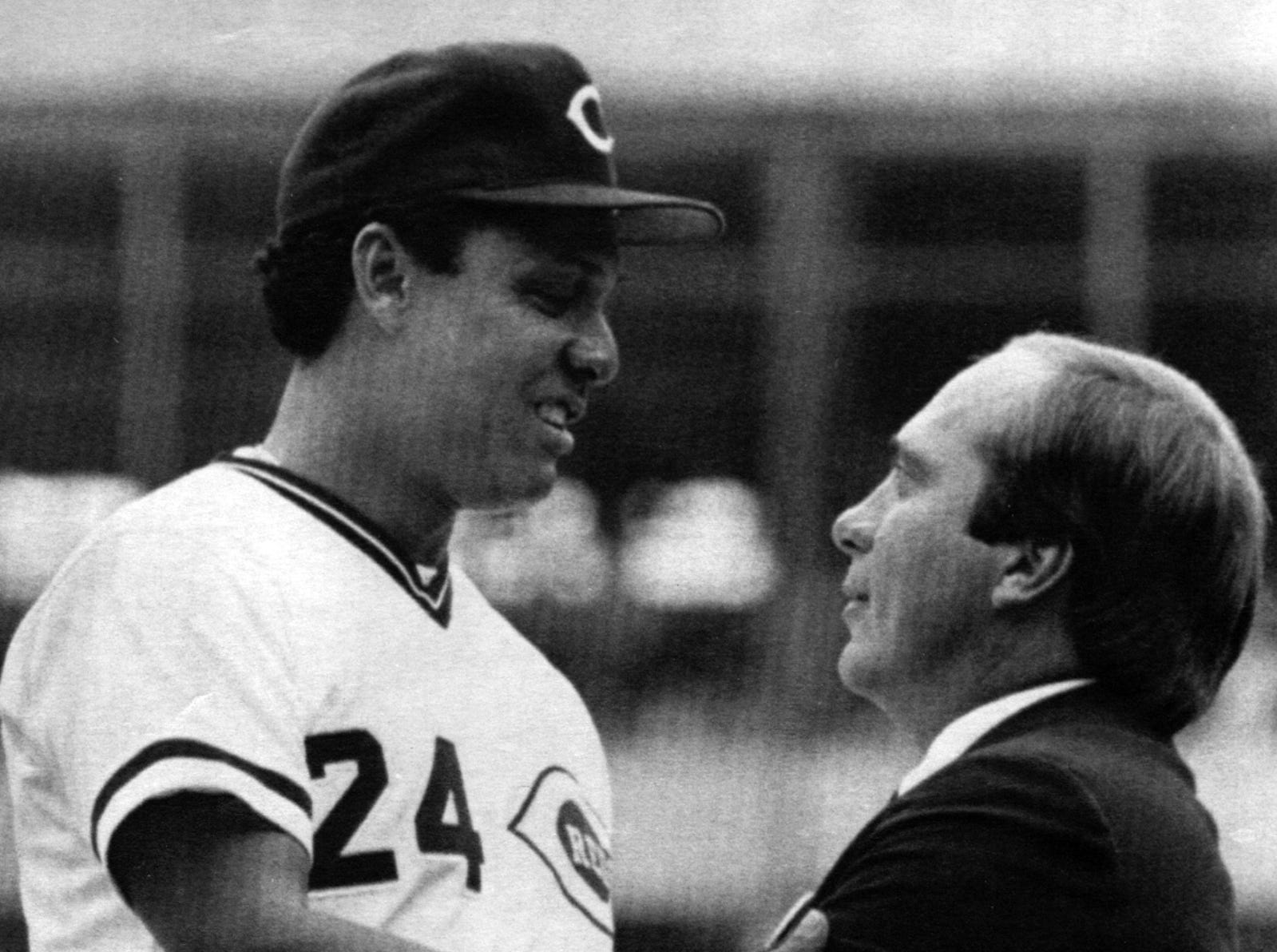 SEPTEMBER 21, 1986: Cincinnati Reds player Tony Perez, 24, is greeted by former teammate Johnny Bench during ceremonies honoring Perez at Riverfront Stadium Sunday afternoon before their game with the Los Angeles Dodgers, Perez, originally from Cuba, now living in Santurce, Puerto Rico, is retiring at the end of the 1986 season. AP Photo/Al Behrman scanned June 10, 2013