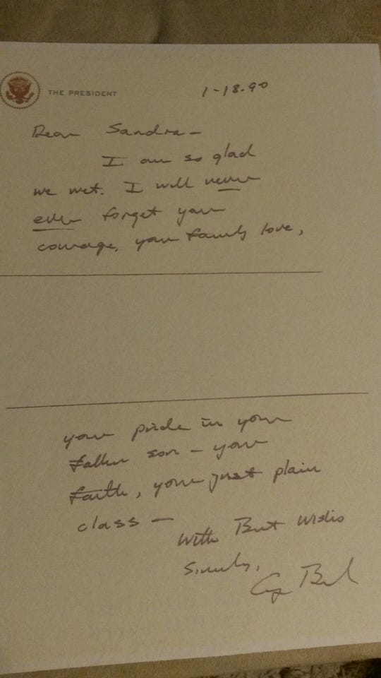 President Bush wrote more than a dozen letters to Sandee Rouse.