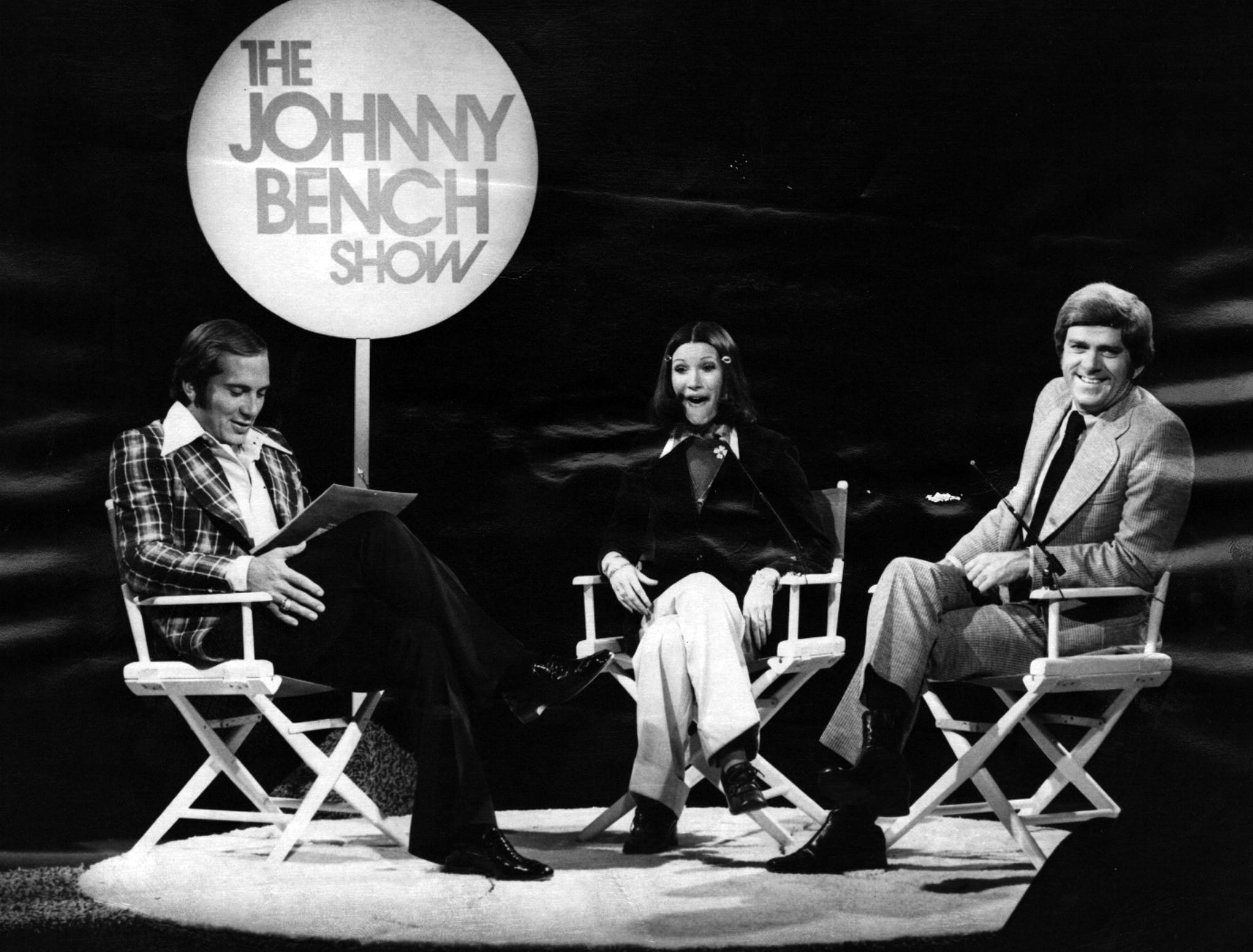"""1973: Phil Donahue and publisher of male nude calendar among """"Johnny Bench Show"""" guest April 28th: Cincinnati Reds' catcher Johnny Bench, left, stares in disbelief at """"Eve's 12,"""" a calendar featuring male nudes for each month of the year...Evelyn Carter, who published the """"tongue in cheek"""" calendar for women, seems amazed at Johnny's reaction...and Phil Donahue, right, well, what could surprise the host of Avco Broadcasting's nationally syndicated talk show? Donahue and Carter will discuss the controversial calendar with Bench on Channel 5's """"Johnny Bench Show,"""" Saturday, April 28th, from 1:30-2:00 p.m. Also appearing with Johnny on the April 28th telecast will be composer/singer Jerry Foster (not pictured), who wrote the Sonny and Cher hit, """"When You Say Love."""" From the Enquirer archives scanned August 8, 2013"""