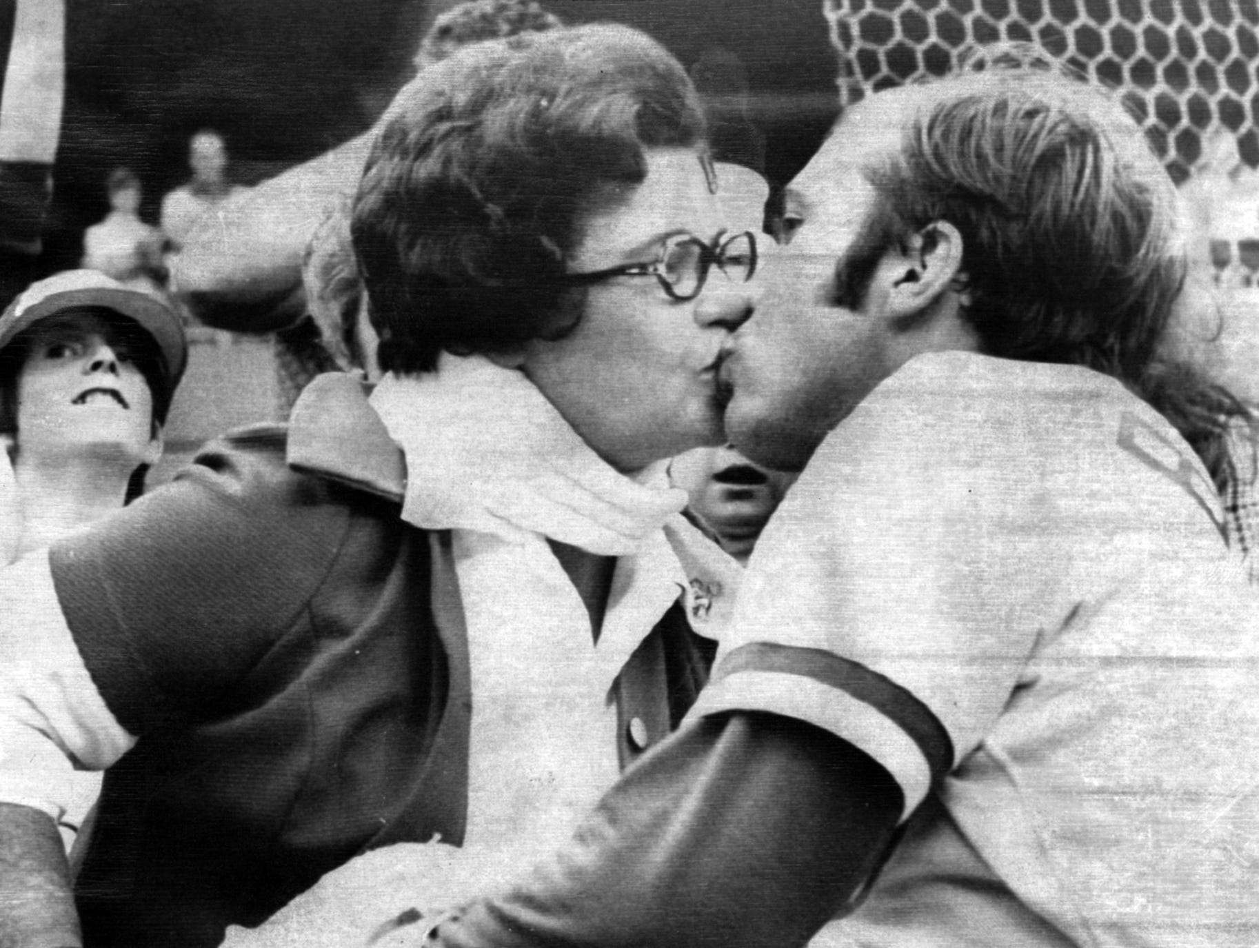 OCTOBER 6, 1973: Johnny Bench gets a winner's reward - a kiss from his mother - Mrs. Katy Bench, after he homered in ninth inning to give the Cincinnati Reds a 2-1 win over the New York Mets in first game of the national league playoffs here at Cincinnati Saturday. AP Photo scanned August 6, 2013