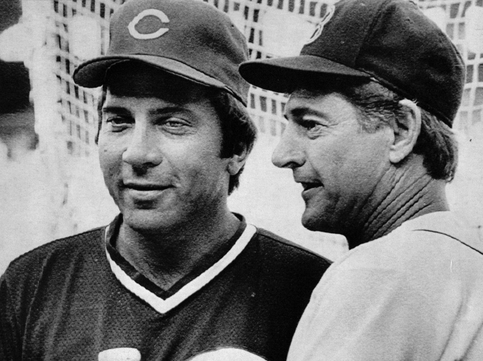 JULY 6, 1983: Johnny Bench, left, of the Reds, and Carl Yastrzemski, of the Red Sox, meet in the batting cage at Comiskey Park in Chicago Wednesday. Bench is playing with the National League and Yastrzemski is playing for the American League in tonight's All-Star game. Both players are retiring at the end of this year. AP Photo/John Swart scanned August 6, 2013 FROM A SUNDAY SEPTEMBER 11, 1983 CAPTION: Bench and Yaz were chosen as honorary members of the 1983 All-Star team.
