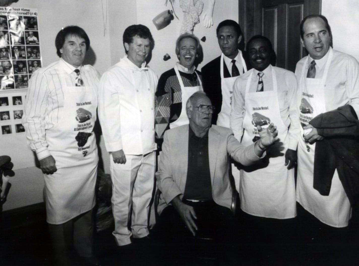 NOVEMBER 5, 1992: NUXHUALL: Cincinnati Reds announcer Joe Nuxhall, seated, was the honoree for a roast held for the benefit of the Cystic Fibrosis Foundation at Oldenberg Great Hall. Nuxhall is pictured with from left to right: Pete Rose, Bill Cunningham, Marty Brennaman, Tony Perez, Joe Morgan and Johnny Bench. PHOTO CREDIT: Philip Groshong for The Enquirer scanned February 8, 2008