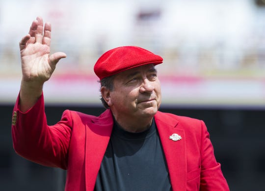 MLB Hall of Famer Johnny Bench waves as he's introduced during a pregame ceremony for the unveiling of Pete Rose's bronze statue being installed outside the stadium before the MLB National League game between the Cincinnati Reds and the Los Angeles Dodgers at Great American Ball Park in downtown Cincinnati on Saturday, June 17, 2017.