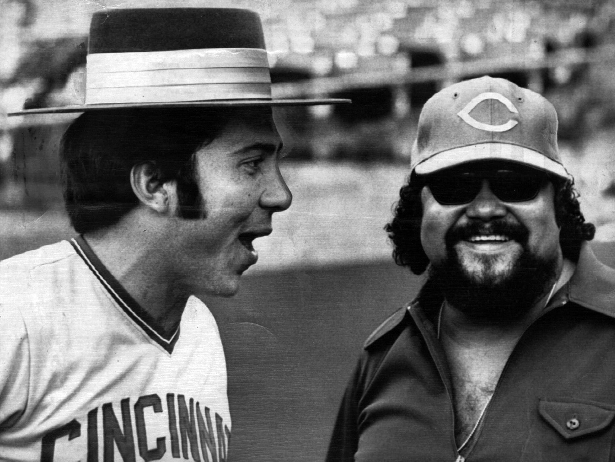 OCTOBER 19, 1972: Johnny Bench of the Cincinnati Reds and Ron Townson of the popular singing group, the Fifth Dimension, trade hats as they gag it up for the photographer at the Oakland Coliseum today. Bench and his teammates were waiting for the start of the forth game of the World Series with the Oakland A's. The singing group was on hand to sing the National Anthem during pregame ceremonies. AP Photo scanned August 7, 2013