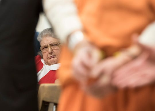 "Geneva Rhoden rolls her eyes as George ""Billy"" Wagner III pleads not guilty to the list of charges against him at the Pike County Courthouse on Tuesday, December 04, 2018. George Wagner III is facing murder charges, along with his wife and sons relating to the deaths of seven Rhoden family members and Hannah Gilley over a possible custody dispute. The eight homicides took place in April of 2016 at four different homes, all around the same time, and it would spawn the largest homicide investigation in Ohio history."