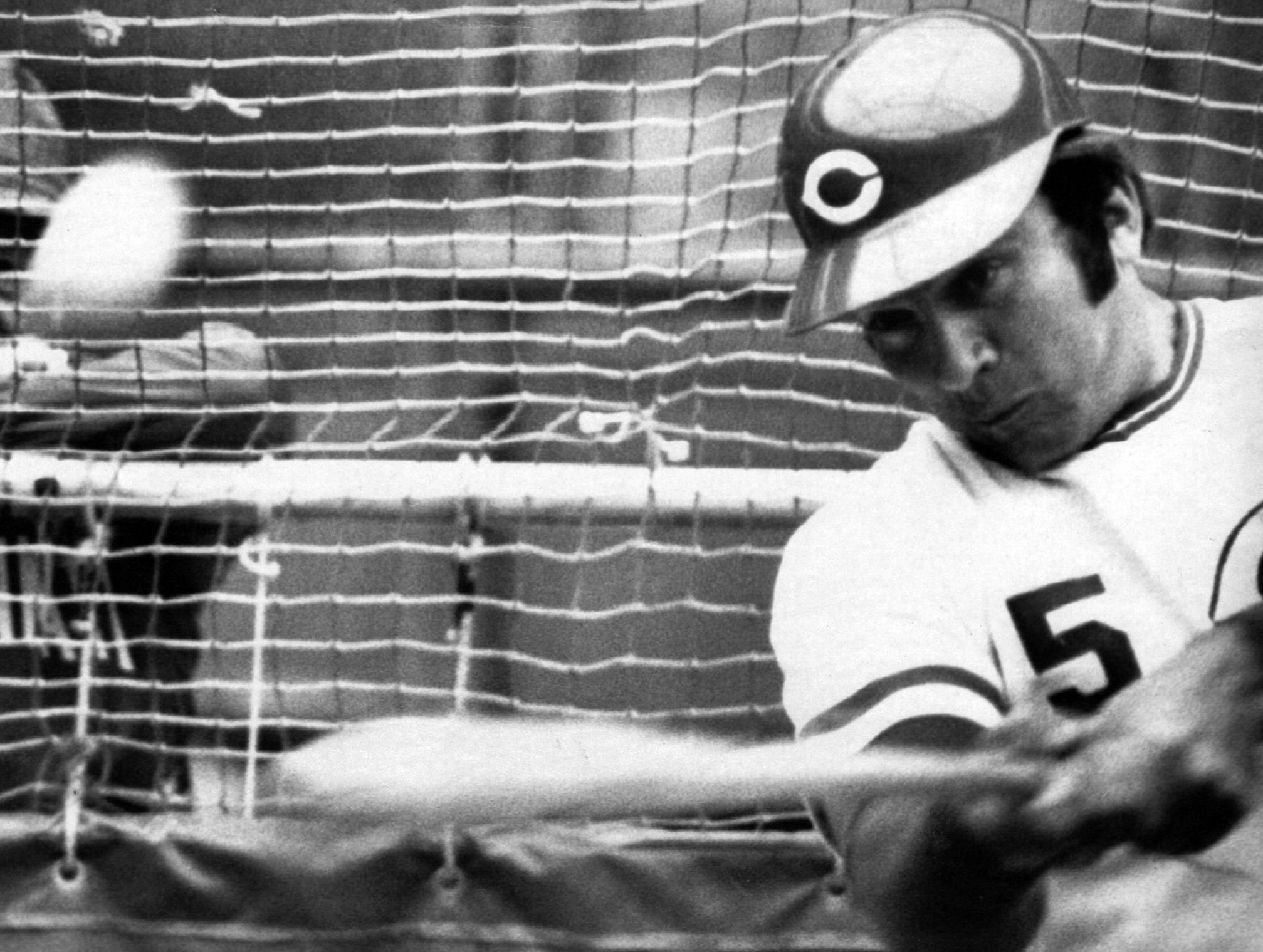 OCTOBER 13, 1972: Johnny Bench, Cincinnati Reds slugger, takes cut at ball in batting cage in warmup for first game of World Series against Oakland Athletics here in Cincinnati Saturday. AP Photo scanned August 26, 2013 FROM A SUNDAY JULY 23, 1989 CAPTION: Bench tied the National League record for most homers in a span of five consecutive games when he hit his seventh on June 3. Bench tied the record Jim Bottomley had held since 1929.