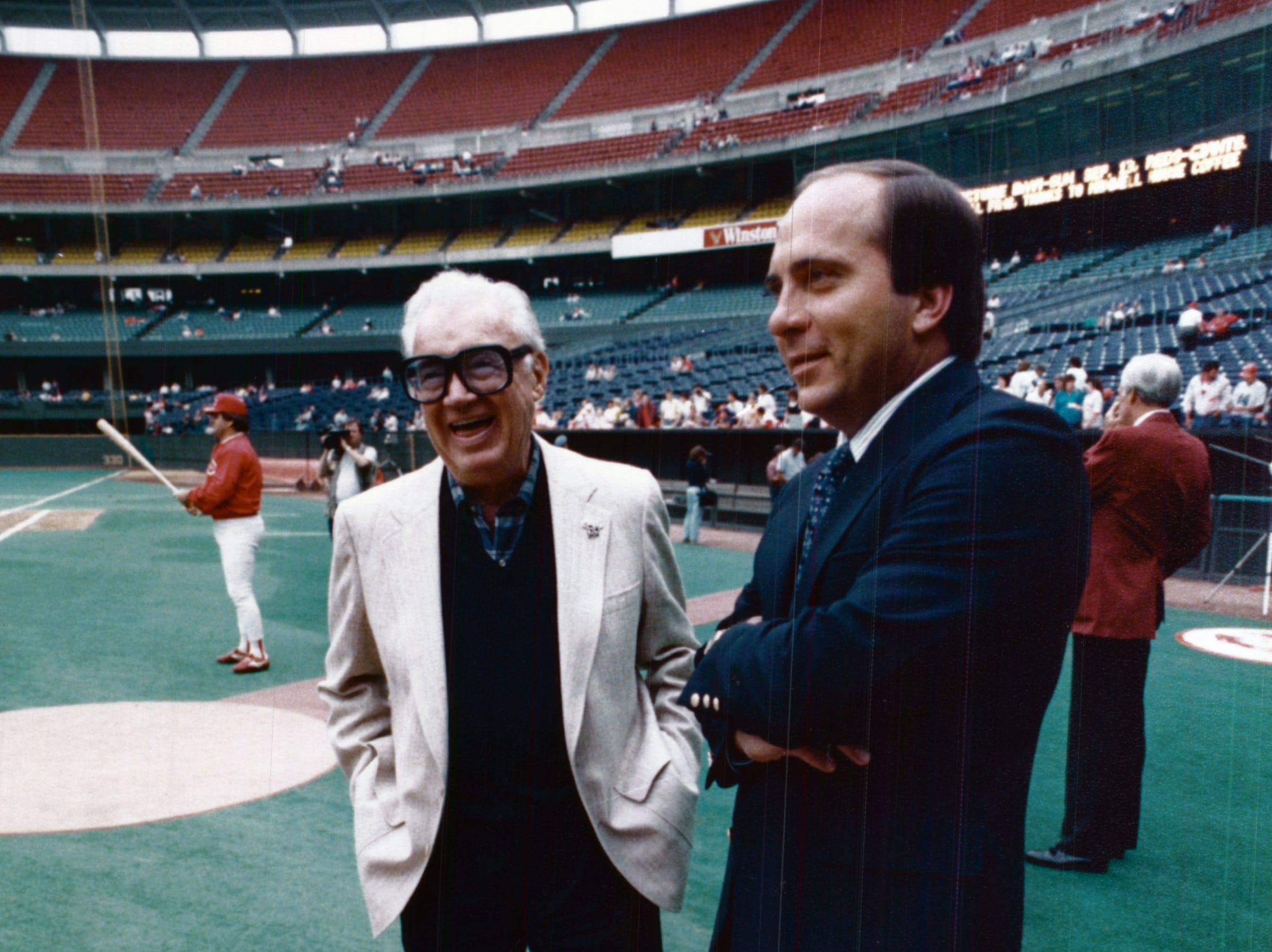 1987: Harry Carey and Johnny Bench at Cubs-Reds 1987. The Enquirer/Michael E. Keating