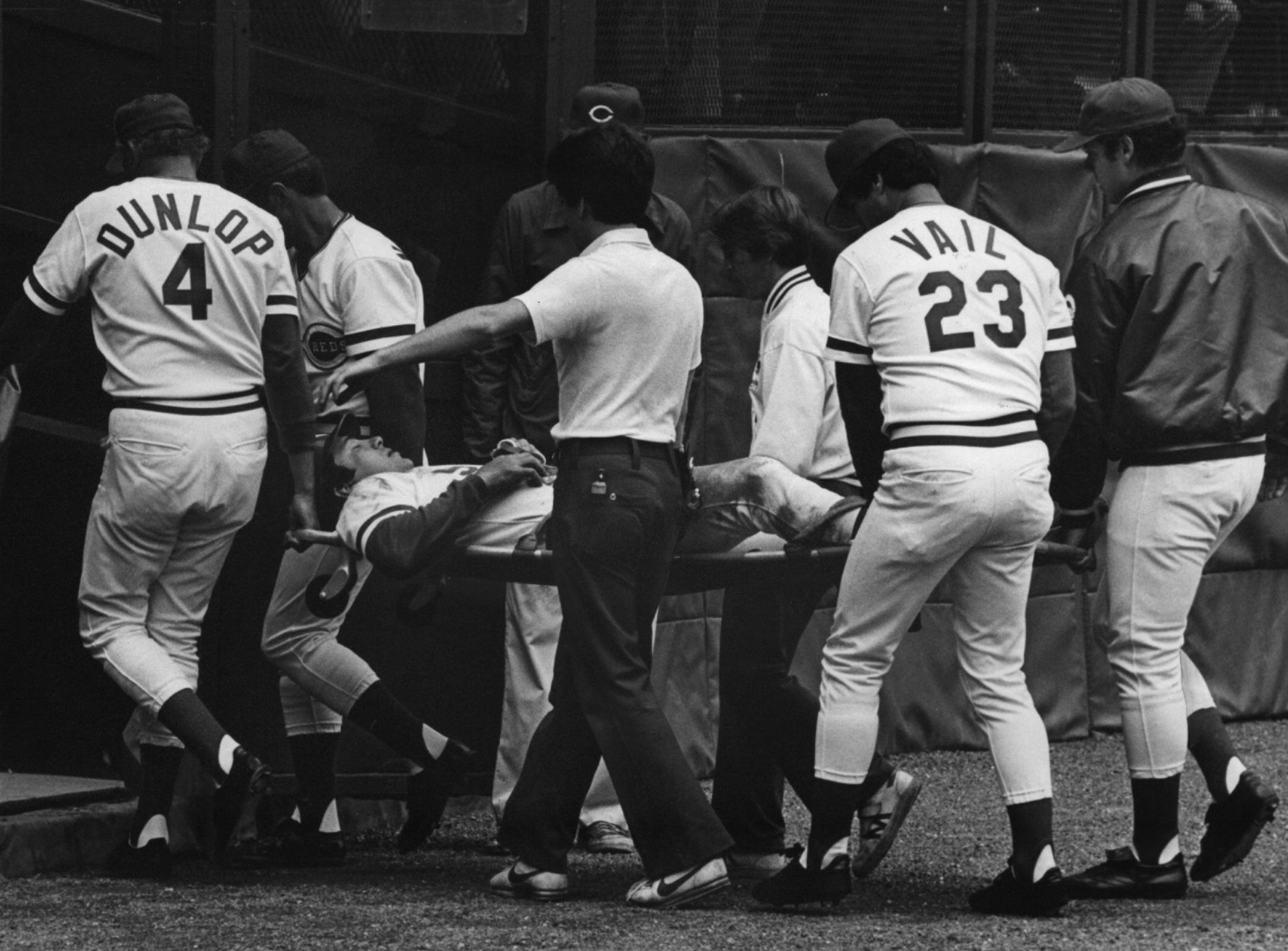 MAY 29, 1981: Johnny Bench is carried off the field on a stretcher Thursday, 5/28/81, after fracturing his left ankle sliding into second base in the seventh inning of the Reds' 7-4 victory over San Francisco. AP Photo/Ed Reinke scanned September 11, 2012