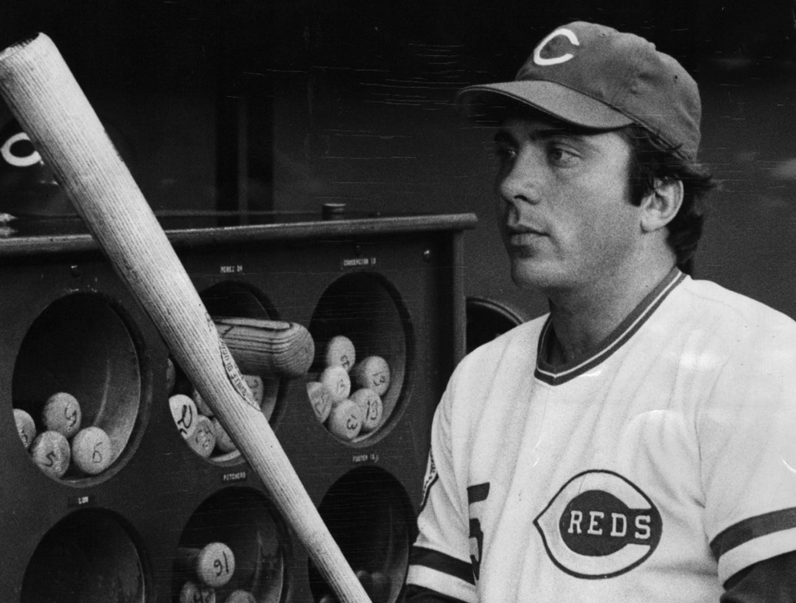 """1976: Johnny Bench. The Enquirer/Gerry Wolter scanned September 11, 2012 FROM A SUNDAY AUGUST 1, 1976 ARTICLE: Johnny Bench, Catcher, Cincinnati Reds: """"My Boyhood idols were Mickey Mantle and Lou Gehrig,"""" he said. """"I admired those two because of all the adversities they had to overcome and play with....These two men proved you can overcome a lot of blockades and detours in a lifetime if you want to make the effort."""" Bench today admires the Rev. Billy Graham, because """"despite all the temptations in his life he as maintained his respect wile others have faltered. FROM A WEDNESDAY OCTOBER 27, 1976 ARTICLE: Cincinnati Reds All-Star catcher Johnny Bench says he tries to turn losing into an asset. """"I try to keep a good perspective on losing. It's certainly not the end of the world. If I lost, it merely means that someone else was better than me that day."""" """"I try to find a logical reason why I lost and then correct it. But in life, like sports, you win some and you lose some."""" FROM A FRIDAY JULY 29, 1977 REFER: Cubs Down Reds 16-15 In Bat Battle, Page C-1."""