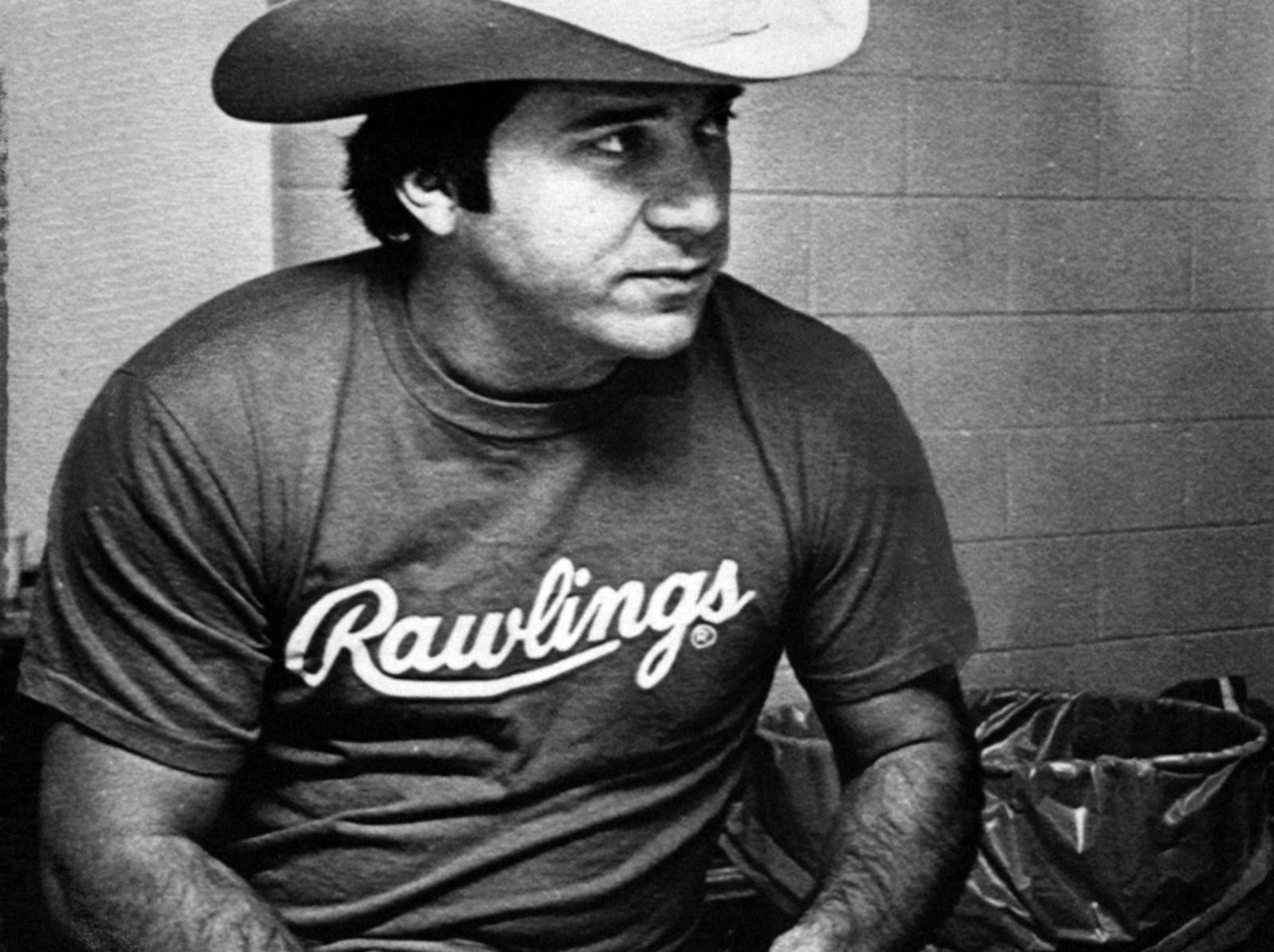 OCTOBER 4, 1979: Catcher Johnny Bench autographs baseballs in lieu of a workout that was cancelled by rain. The baseballs are autographed by each team member and a dozen given to each player to do with as he pleases. The Enquirer/Michael E. Keating scanned August 8, 2013
