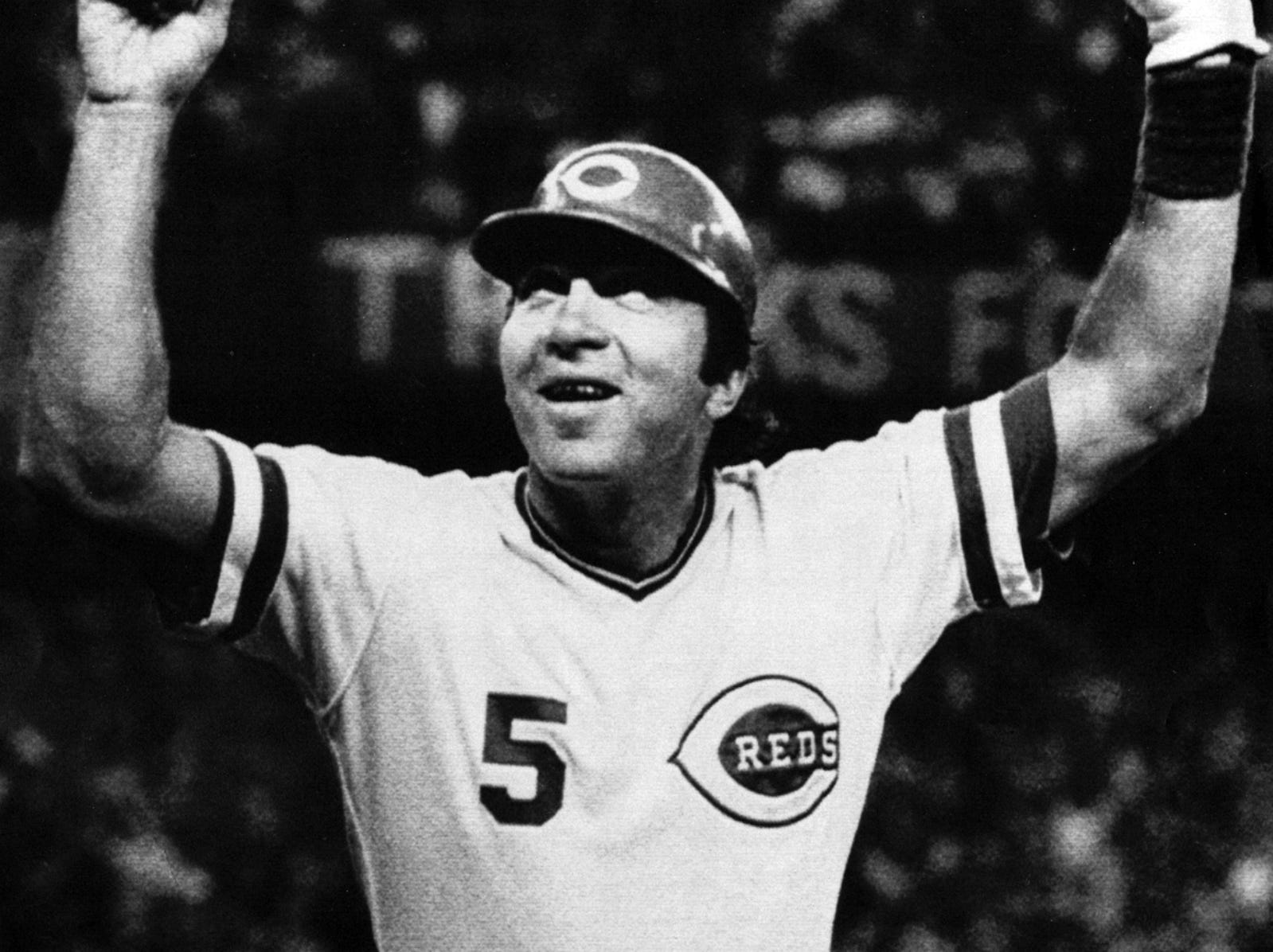 """SEPTEMBER 19, 1983: Cincinnati Reds catcher Johnny Bench celebrates after hitting a homerun during their game with the Houston Astros at Riverfront Stadium Saturday night. The game was """"Johnny Bench Night""""marking the last time he was to start as a catcher. AP Photo/Rob Burns scanned August 6, 2013"""
