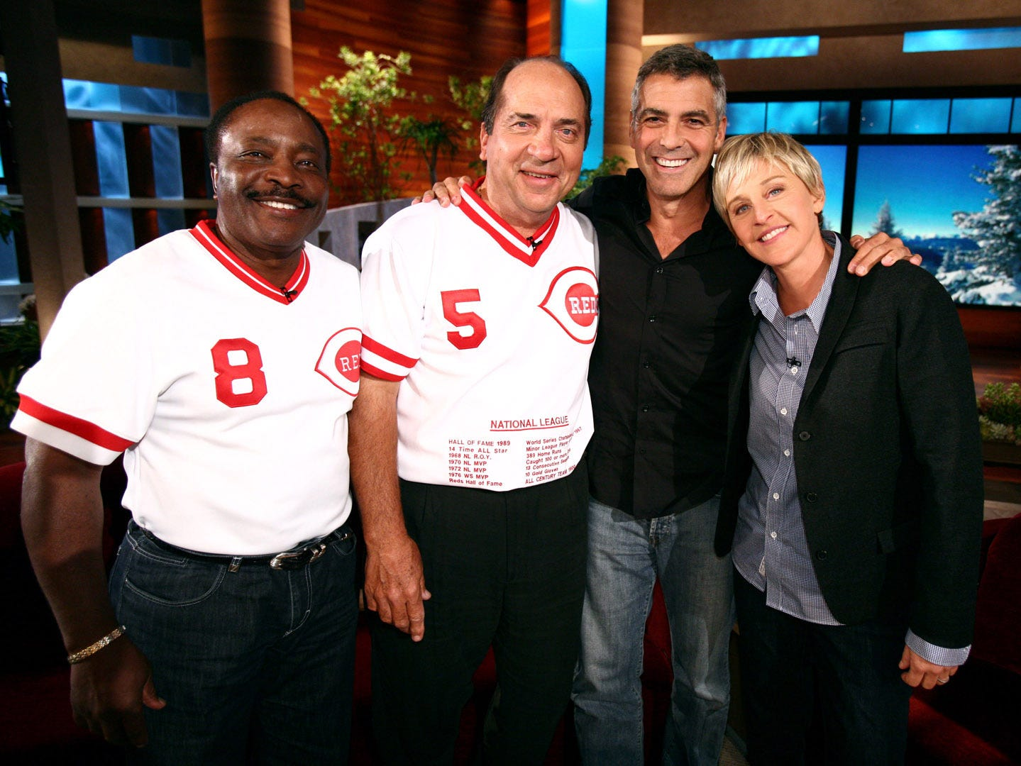 In this photo released by Warner Bros., talk show host Ellen DeGeneres finally lures George Clooney to her show with  the former ÒCincinnati RedÕsÓ Hall of Fame baseball players Johnny Bench and Joe Morgan during a taping of ÒThe Ellen DeGeneres ShowÓ on the Warner Bros. lot in Burbank, Ca on Thursday, January 15th, 2009.  This episode of ÒThe Ellen DeGeneres ShowÓ airs on Monday, January 19th.  (Michael Rozman/Warner Bros.)