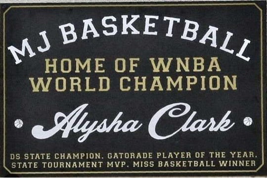 This sign honoring Alysha Clark was hung recently in the Mt. Juliet gym.