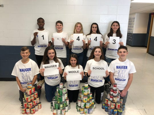 A total of 1,443 items were collected during the Von E. Mauger Middle School food drive. Student Council Members: top left to right are Patrick Williams, Michael Forsthoffer, Suzannah Mulvey, Arianna Mangual, Isabella Pombrio and bottom left to right are  Justin Gordon, Aly Porcile, Taylor Matula, Casey Miller, Jakob Anderson.