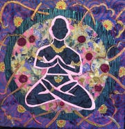 "Kat Block, ""Electric Meditator,"" (6"" x 6"") collage"