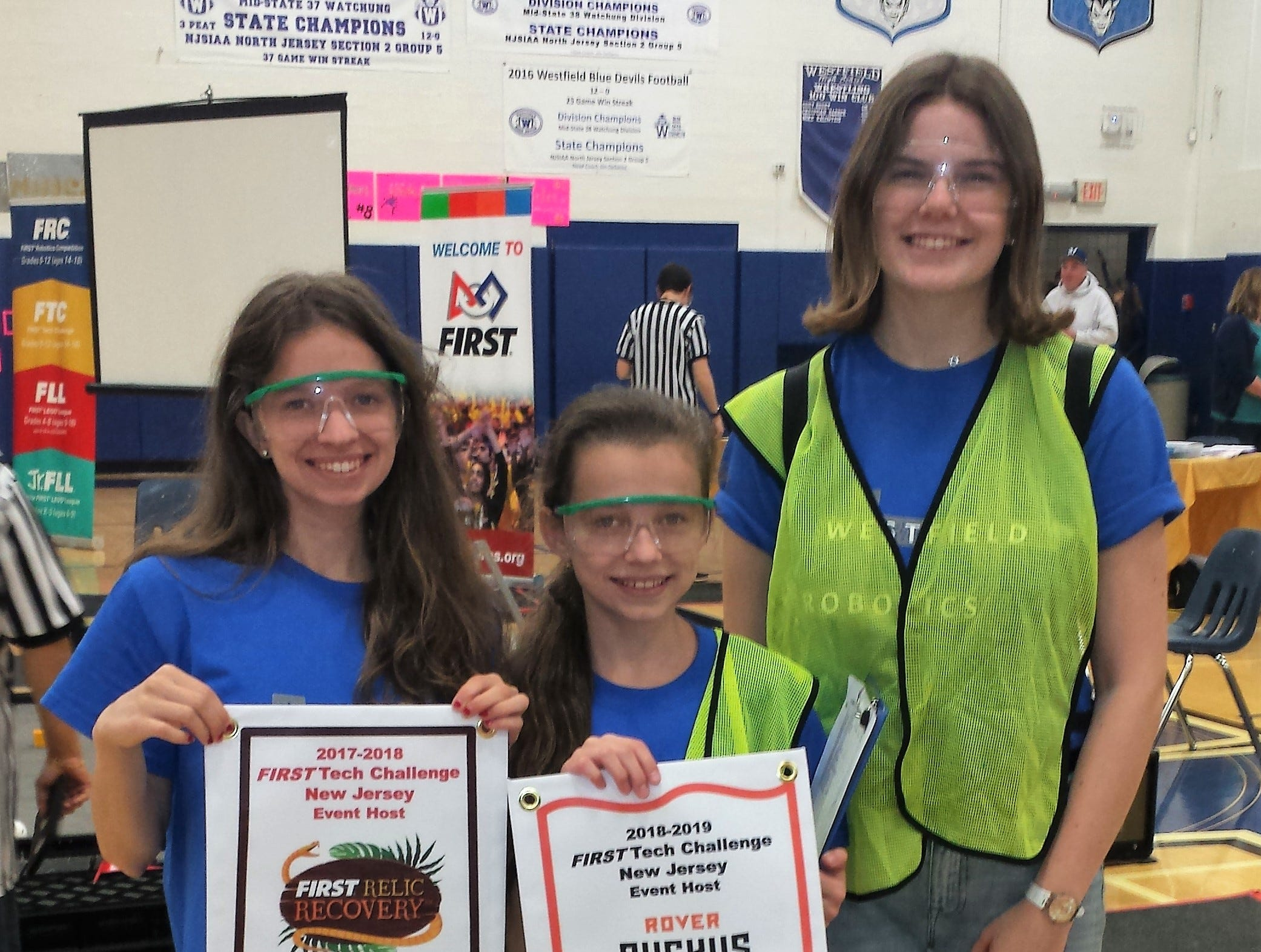 Left to right: Westfield Robotics Team members Kristina Hollosi, Hannah Hollosi, and Dorothy Kaplan participate in the FIRST Tech Challenge Robo-Ruckus on Sunday, Nov. 4 at Westfield High School.