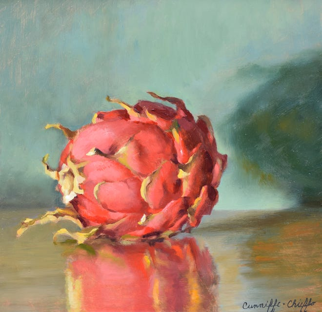 "Janet Cunniffe-Chieffo, ""Dragon Fruit,"" (8"" x 8"") oil on copper"