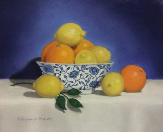 "Nancy Brangaccio, ""Citrus: Sweet & Sour,"" pastel still life"
