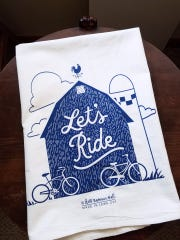 "This ""Let's Ride"" gift towel is inspired by RAGBRAI."