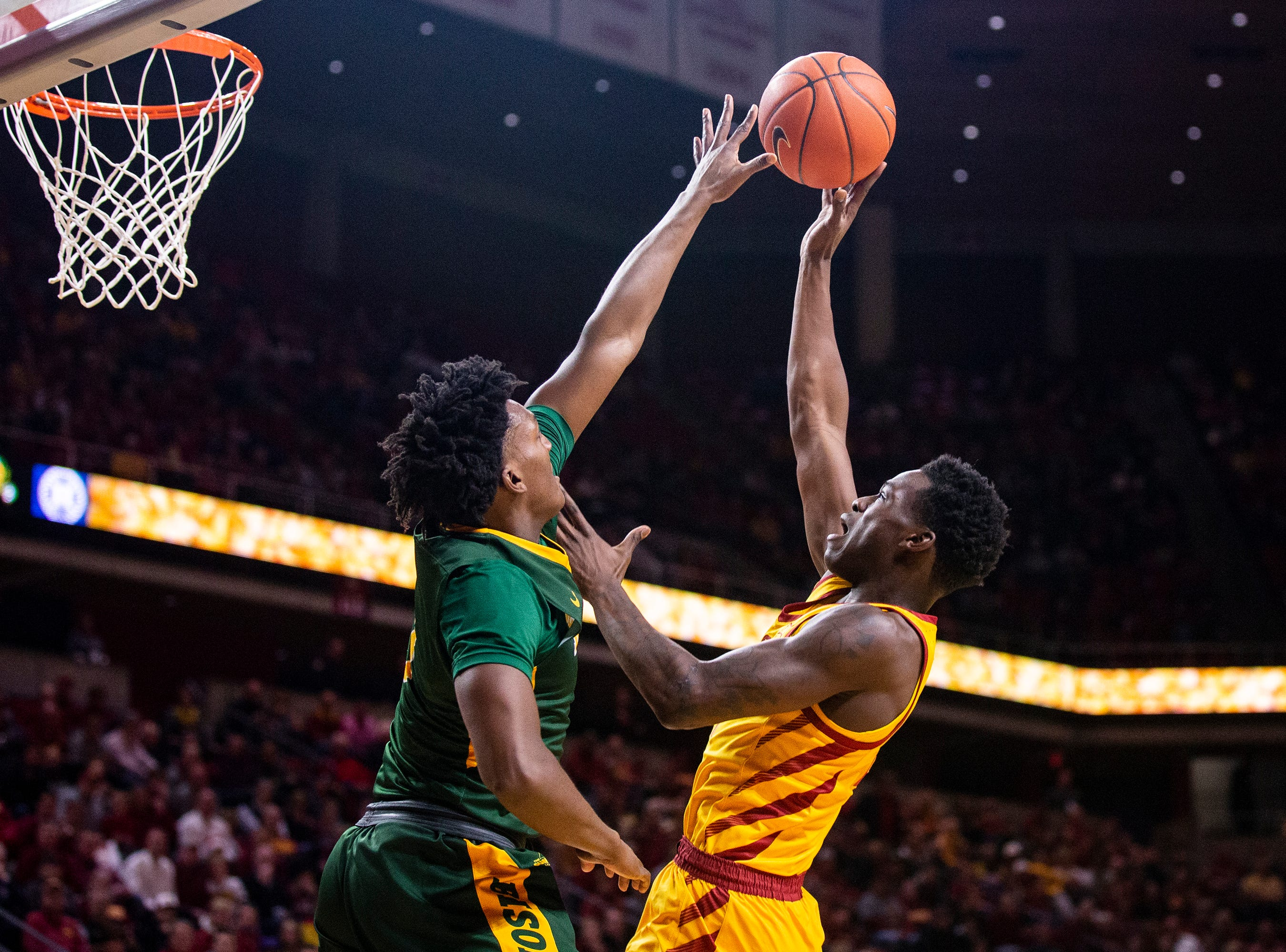 Iowa State's Terrence Lewis shoots the ball during the Iowa State men's basketball game against North Dakota State University on Monday, Dec. 3, 2018, in Hilton Coliseum.