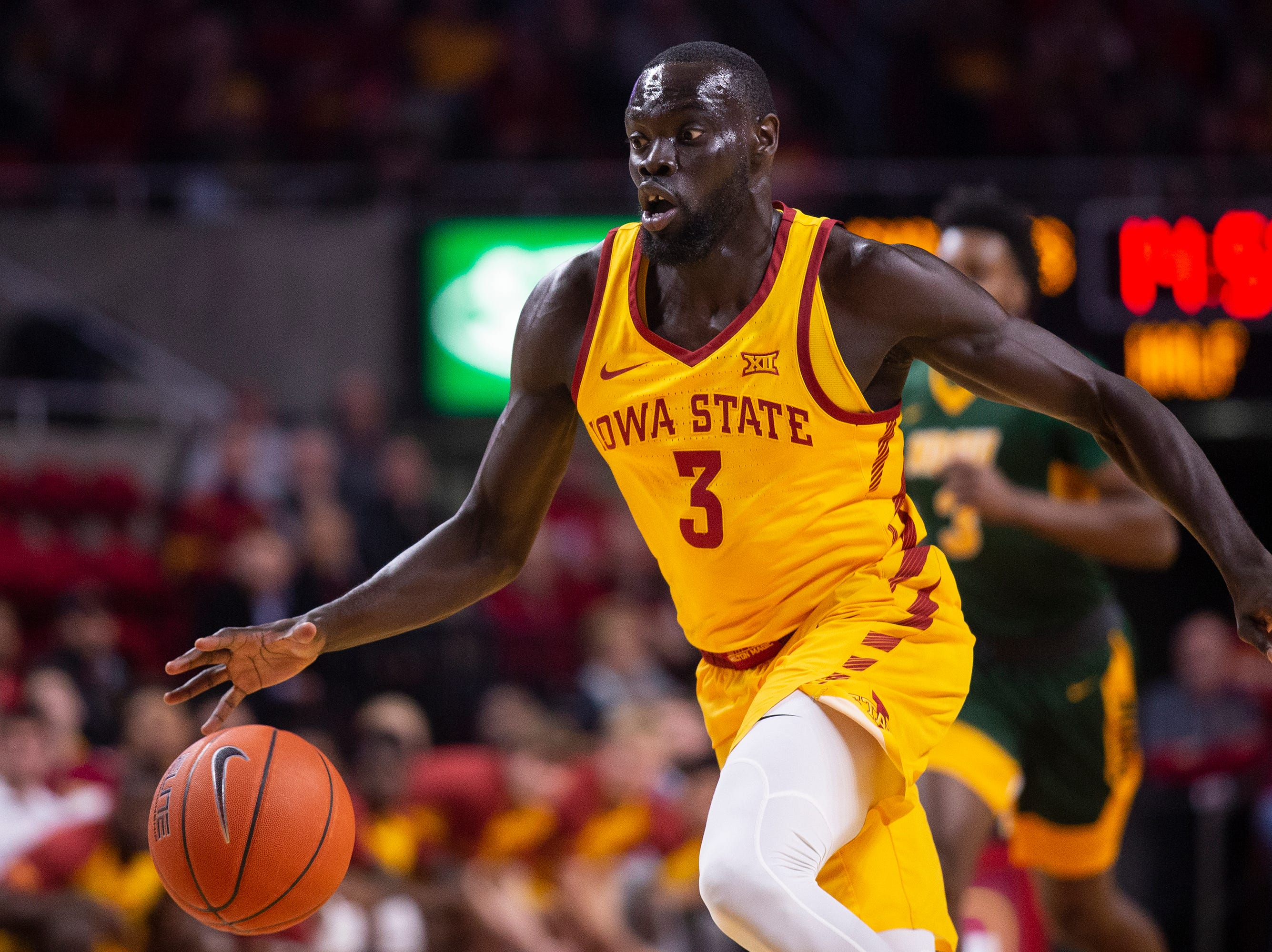 Iowa State's Marial Shayok brings the ball down the court during the Iowa State men's basketball game against North Dakota State University on Monday, Dec. 3, 2018, in Hilton Coliseum.