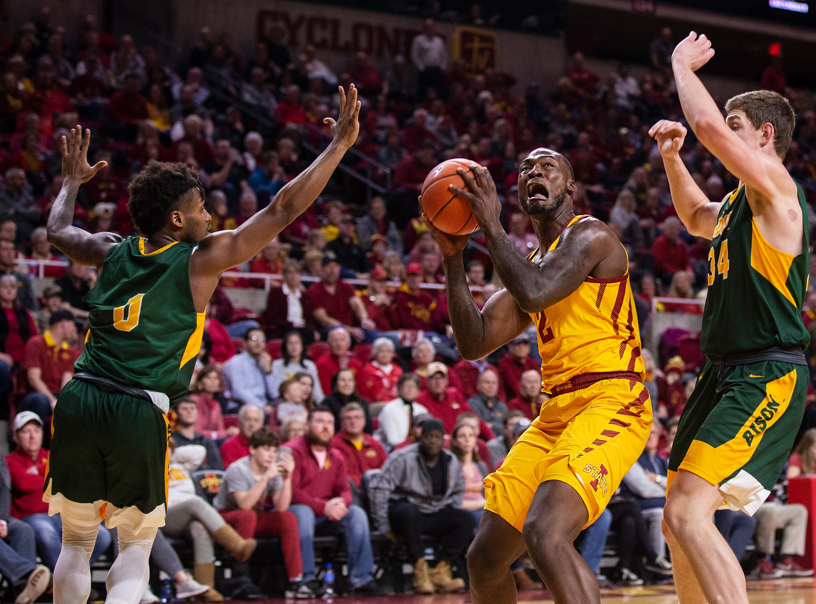 Iowa State's Cameron Lard goes up for a shot during the Iowa State men's basketball game against North Dakota State University on Monday, Dec. 3, 2018, in Hilton Coliseum.