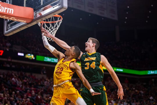 Iowa State's Tyrese Haliburton attempts a lay-up during the Iowa State men's basketball game against North Dakota State University on Monday, Dec. 3, 2018, in Hilton Coliseum.