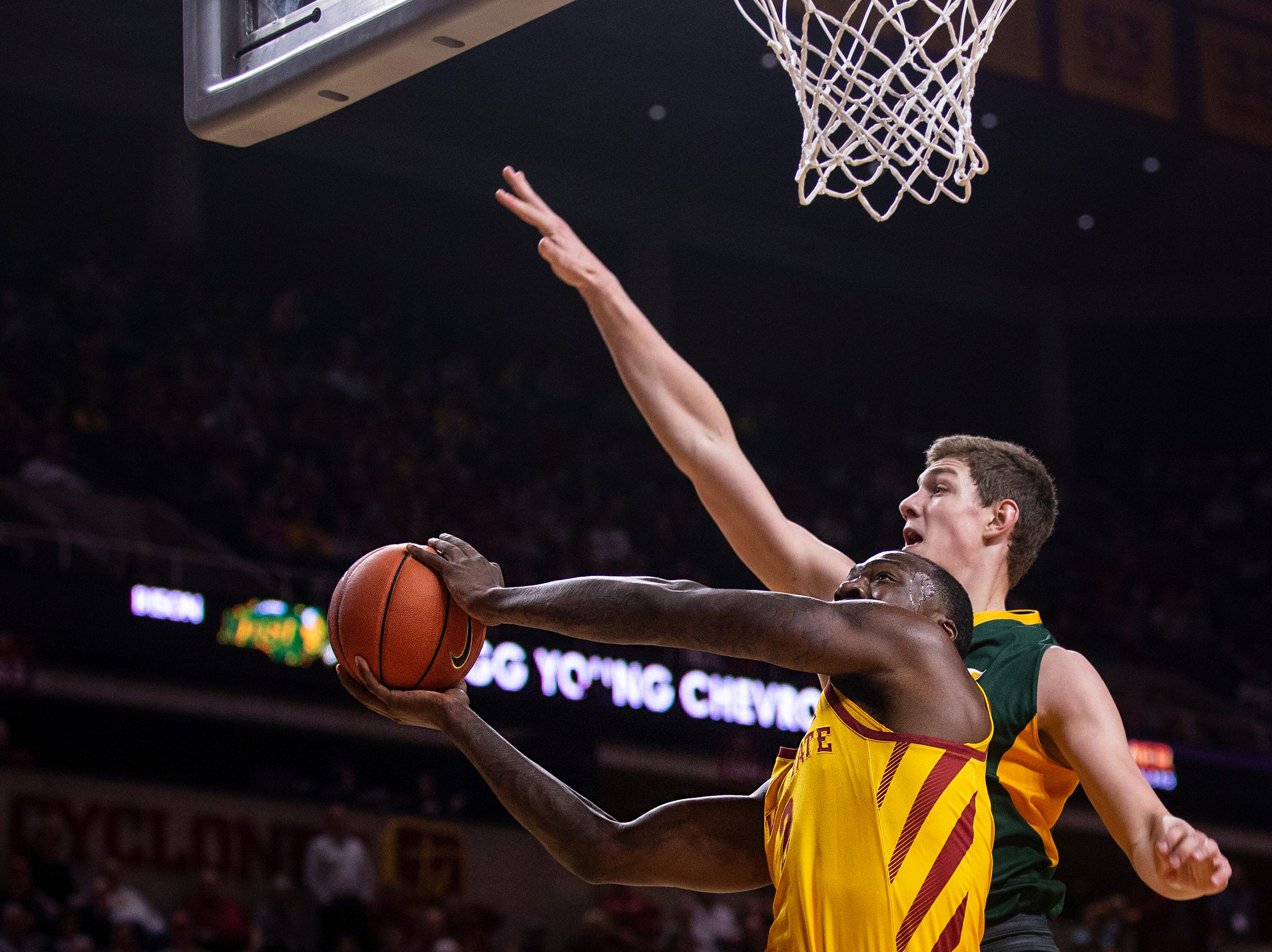 Iowa State's Cameron Lard attempts to shoot the ball during the Iowa State men's basketball game against North Dakota State University on Monday, Dec. 3, 2018, in Hilton Coliseum.