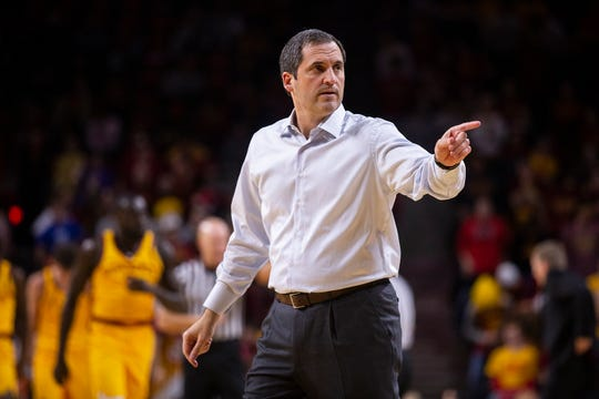 Iowa State Head Coach Steve Prohm points toward the bench during the Iowa State men's basketball game against North Dakota State University on Monday, Dec. 3, 2018, in Hilton Coliseum.