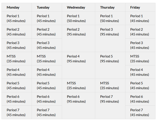 Proposed schedule for Des Moines high schools